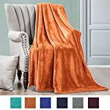 Luxe Manor 50x60 Inch Ultra Soft Flannel Fleece Throw Blanket Lightweight Decortive Fuzzy Plush Microfiber Warm Blanket for Sofas Couches Beds and Office, Rust