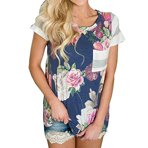 VYNCS Women's Casual Floral Print Tops Blouse Crew Neck Short Sleeve T-Shirt with Pocket (Navy Blue, X-Large)