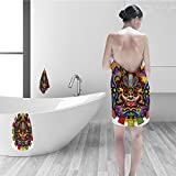 Nalahomeqq Bath towel set Mesoamerican Decor Collection Colorful Aztec Warrior Mask Ceremony Style Symbolic Manuscript Art Polyester Fabric Bathroom Red Yellow Blue Green
