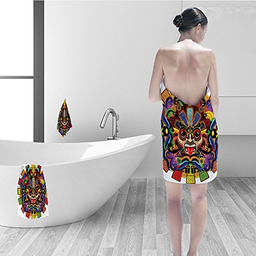 Nalahomeqq Bath towel set Mesoamerican Decor Collection Colorful Aztec Warrior Mask Ceremony Style Symbolic Manuscript Art Polyester Fabric Bathroom Red Yellow Blue Green by Nalahomeqq