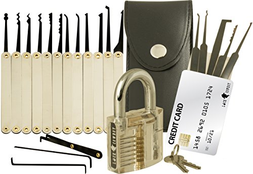 20-Piece Lock Pick Set with Transparent Training Padlock and Credit Card...