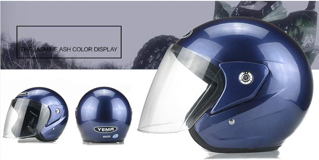 Casco moto elettrica Uomini e donne Battery Car Sunscreen Four Seasons Winter Universale Casco anti-fog semi-coperto Classic Half Helmet Colore : Blu scuro-Transparent lens