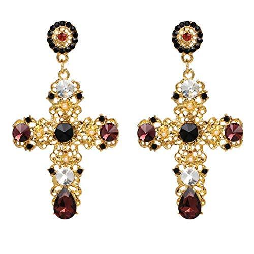 Cross Vintage (ALMAATA Jewelry Vintage Boho Crystal Cross Baroque Bohemian Large Long Drop Earrings for Women Girls (Gold))