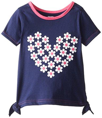 Gerber Graduates Little Girls' Short Sleeve Hearts Top, Blue, 3T
