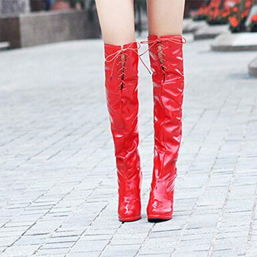 Bottes Jouets Tied Sexy forme Coins Impermables Plate Costume De Alikeey Heeled Danse Largeurs Haut Devant Gordo Red Chaussons Modles tYq06xYw8