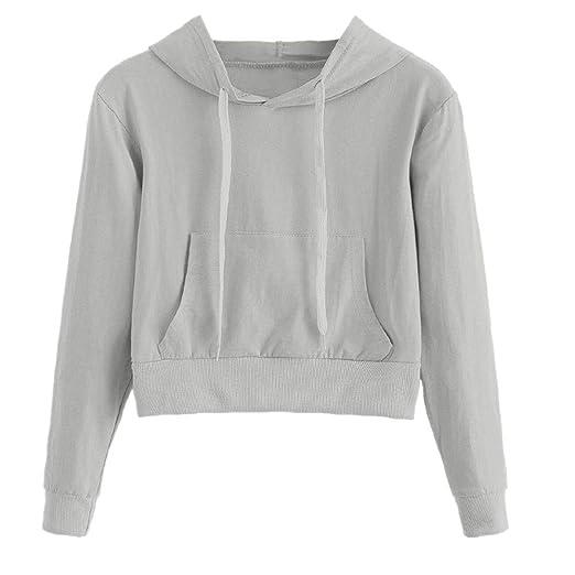52a23176 Makeupstore 2019 New Women Teen Girls Hoodie, Fashion Solid Color Pocket  Long Sleeve Hoodies Crop Top Sweatshirt at Amazon Women's Clothing store: