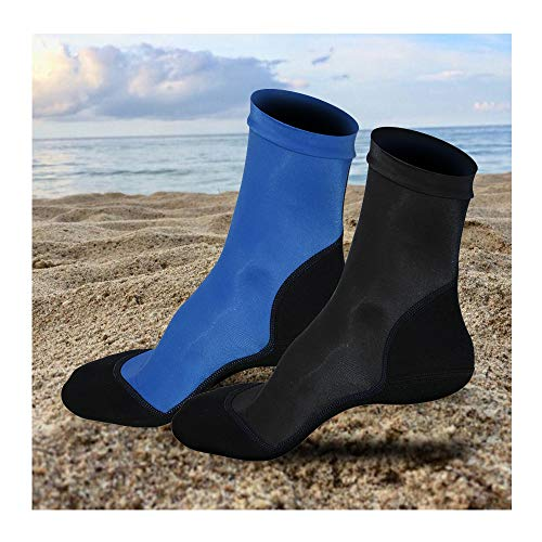 L&Sports Beach Socks 2 Pairs - Lycra Sand Skin Fin Socks Neoprene Water Booties for Beach Volleyball Soccer Swimming Scuba Diving Snorkeling Fins Rafting Fishing Kayaking Boots (Black+Blue, 3XL)