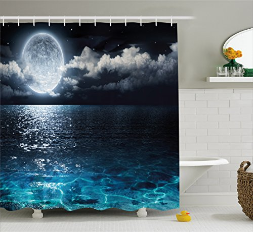 Lunarable Night Sky Shower Curtain, Full Moon and Foggy Clou