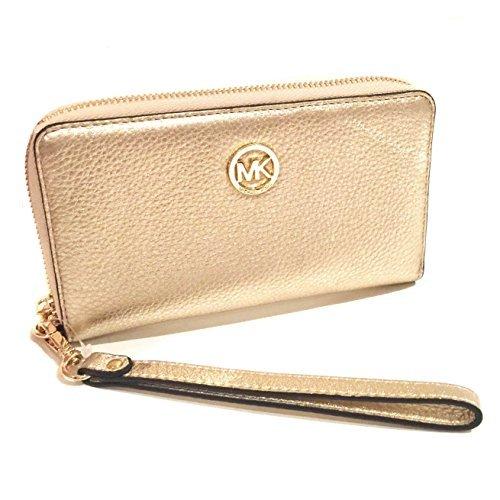 4959691850838d Galleon - Michael Kors Fulton Large Flat Multifunction Leather Phone Case  Wristlet, Pale Gold