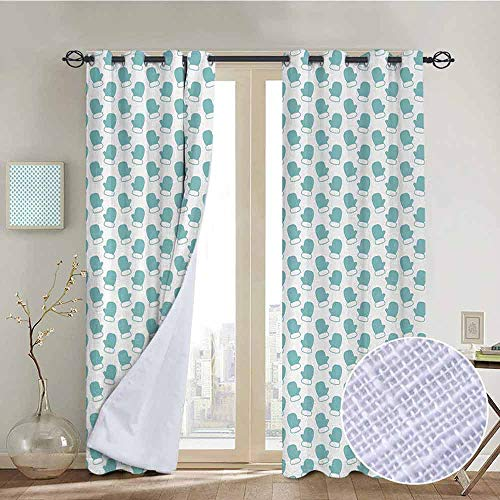 - NUOMANAN Modern Farmhouse Country Curtains Turquoise,New Years Christmas Theme Winter Snow Gloves with Furry Borders Image,White and Light Blue,Design Drapes 2 Panels Bedroom Kitchen Curtains 54