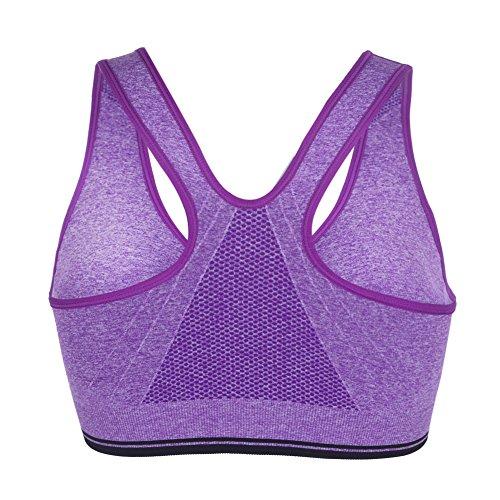 Uskincare Sujetador Deportivo Deporte Mujer Chica sin Aros Cremallera Derantera Elastico Púrpura