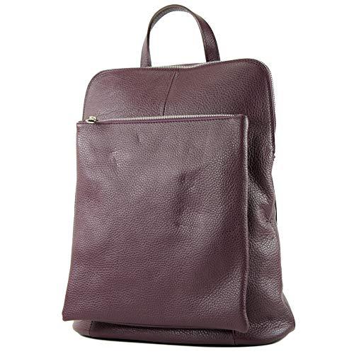 de bolsa mochila de de modamoda 3en1 italianas cuero T141 señoras Purpurviolett XfwqgfCY