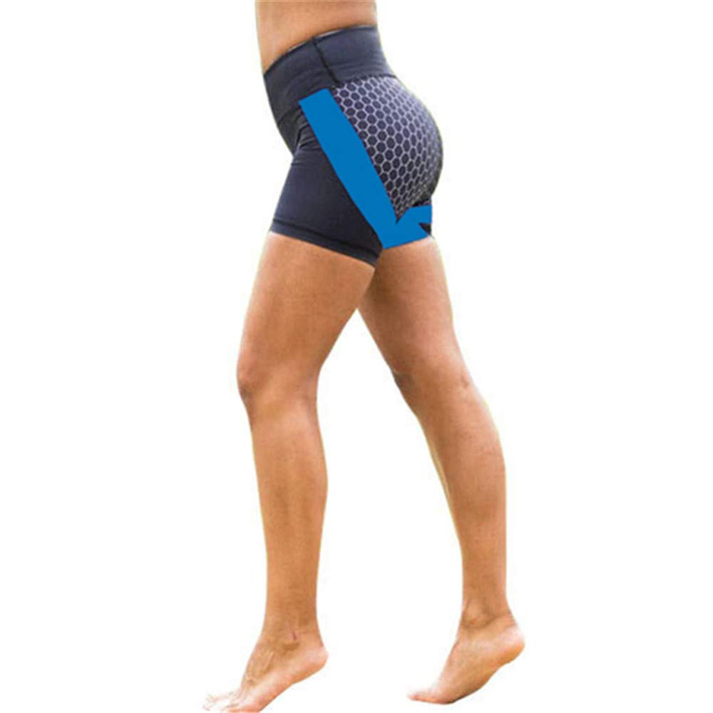 Qiujold Women Leggings Yoga Pants Compression Tights (S, Blue)