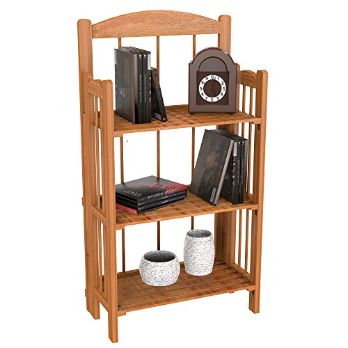 Bookcase for Decoration, Home Shelving, and Organization by Lavish Home- 3 Shelf, Folding Wood Display Rack for Home and Office (Light Brown) - Home Depot Shelving Units