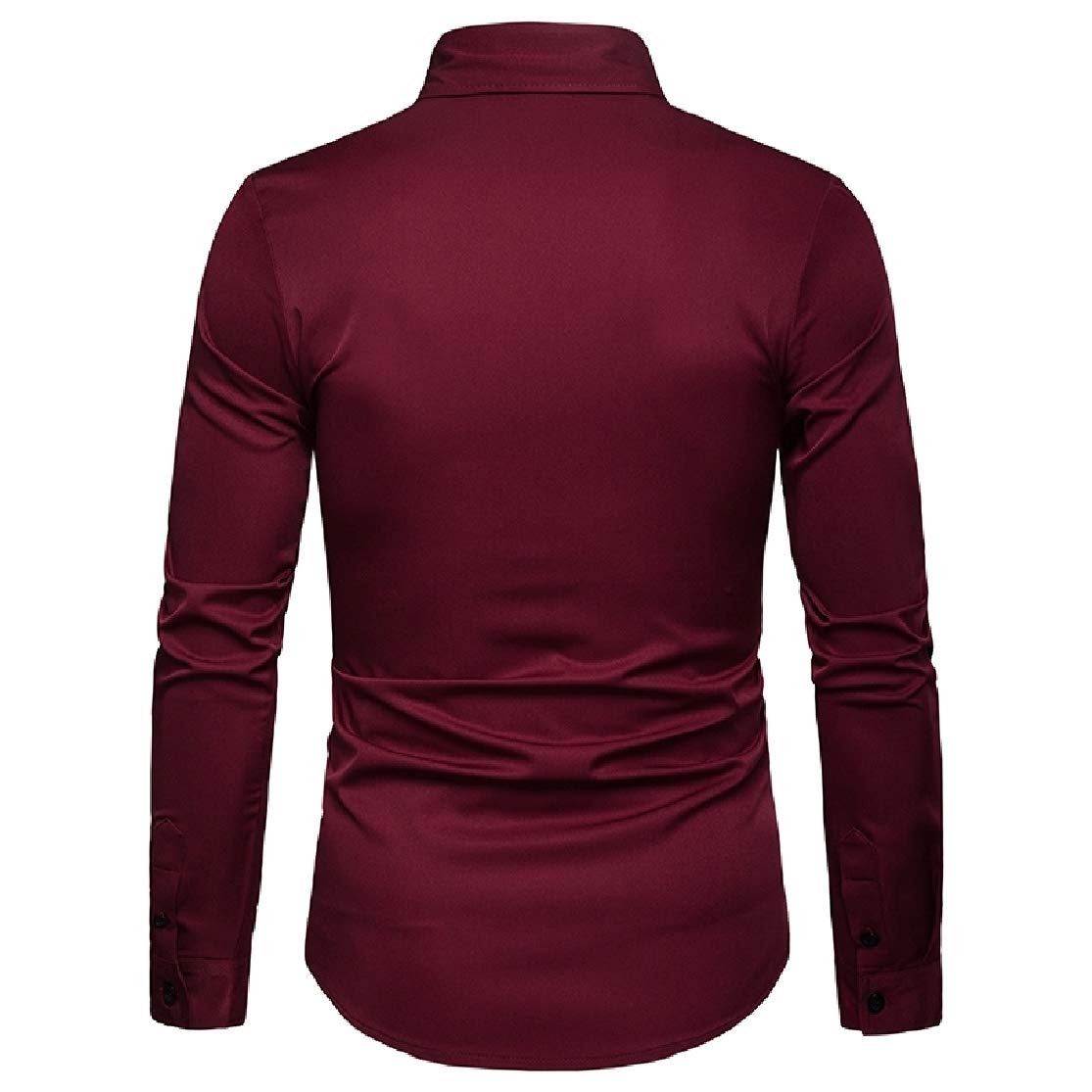 KLJR Men Solid Button Up Slim Fit Long Sleeve Casual Business Shirts