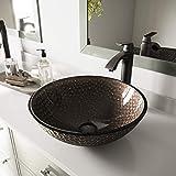 VIGO Modern Copper Shield Glass Vessel Bathroom Sink, Copper Shield