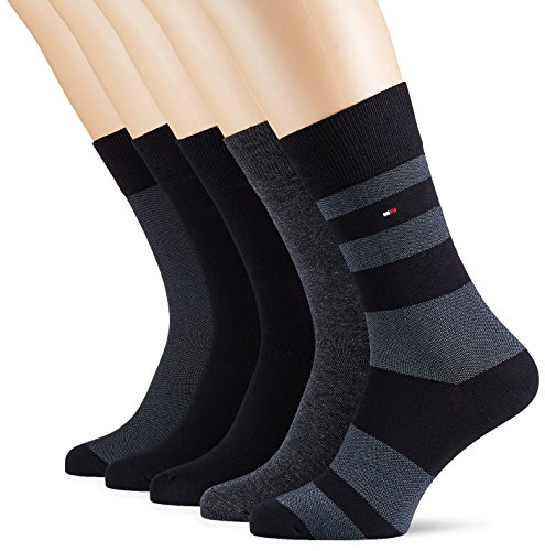 Tommy Hilfiger Men's TH Birdeye Box 5P Calf Socks, Schwarz (Black 200), 6/8 pack of 5