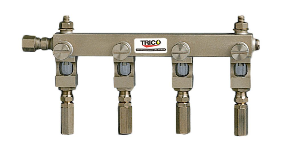 Trico 35594 Brass Manifold with Heavy Wall Acrylic Plastic Oil Sight, 4 Outlet, 1/4''-20 Mounting Stud, 6'' Length by Trico (Image #1)