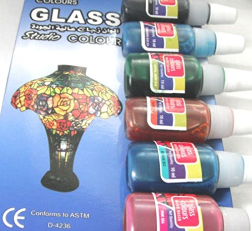 HONGBE 10x Glass Paint Set 10ml Bottles + 1x Black Outliner Tube 15ml 10MLGLASSPAINT