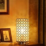 Crystal Table Lamp - Albrillo, Accent Desk Lamp Bedside Lamps, Modern Table Light with Silver Shade, Nightstand Lamps for Bedroom, Living Room