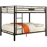 Furniture of America Rivell Queen over Queen Metal Bunk Bed in Black