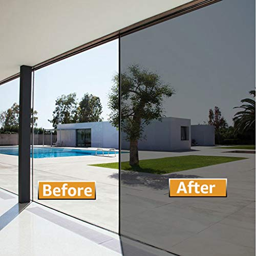 Ablave One Way Window Film Non-Adhesive, Daytime Privacy Reflective Mirror Window Tint for Home, Heat Control UV Blocking, Static Cling Window Stickers Black-Silver, 17.7 Inch x 78.7 Inch