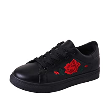 SUKEQ Women Sneakers, Fashion Ladies Lace Up Non Slip Sports Running Sneakers Embroidery Rose Flower Shoes Flat Walking Shoes