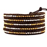 Chan Luu Gold Vermeil and Sterling Silver 5-Wrap Brown Leather Bracelet