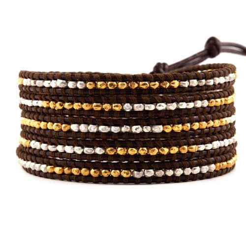 Chan Luu Gold and Sterling Silver Wrap on Brown by Chan Luu