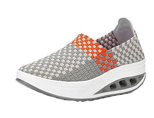 VECJUNIA Ladies Woven Lightweight Elastic Trainer Sport Water Shoes Slip-On Platform Fitness Toning Shoes Work Out Height-increasing Sneaker Grey ejzi7cYEea