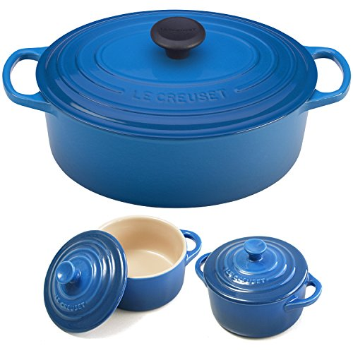 Le Creuset Signature Marseille Blue Enameled Cast Iron 5 Quart Oval French Oven with 2 Free Stoneware -