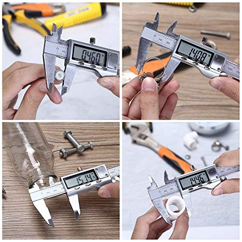 Electronic Digital Vernier Caliper -ROSIMO Stainless Steel Caliper  150mm/0-6 Inch Measuring Tools with Extra-Large LCD Screen- Inch/Metric  Conversion