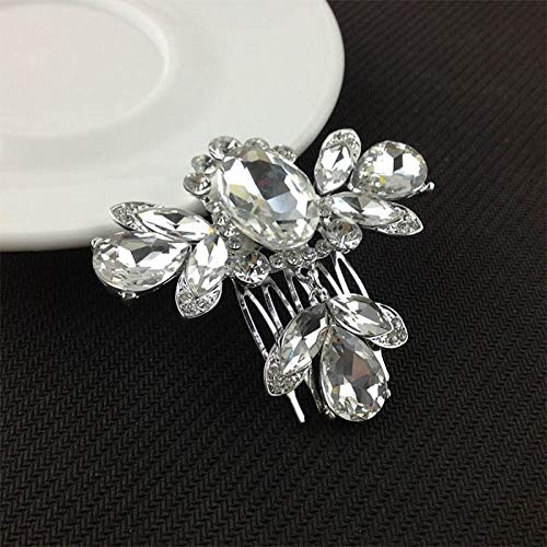 - Women Crystal Rhinestone Pearl Hairpin Flower Hair Clips Comb Wedding Jewelry (Style - Dragonfly)