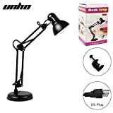 Metal Swing Arm Multi-Joint Desk Lamp with Interchangeable Heavy Duty Base Or Classic Architect Clamp-on Desk Lamp- Blac