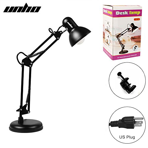 Metal Swing Arm Multi-Joint Desk Lamp with Interchangeable Heavy Duty Base Or Classic Architect Clamp-on Desk Lamp-