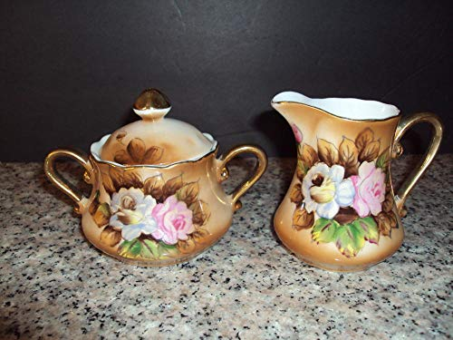 Elegant Porcelain Sugar and Creamer with Yellow and Pink Roses Gold Accents (Fenton Glass Creamer)