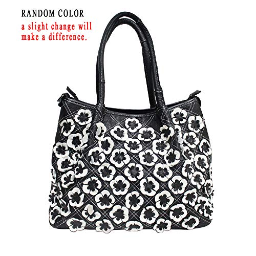 Vegasking Women's Retro Top Layer Handle Cowhide Hangbag Casual Genuine Leather Applique Beaded Color Collision Pillow Tote (Style2-Black&White) ()