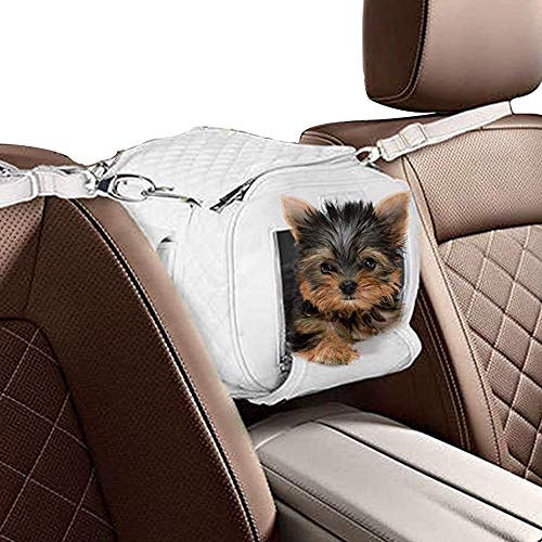 ZuGoPet Faux Leather Pet Carrier Handbag Purse Bag Dogs and Cats (White)