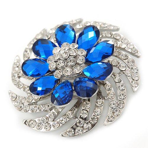 Broche de corsage cristal coloré transparent/bleu roi grande taille en plaqué rhodium