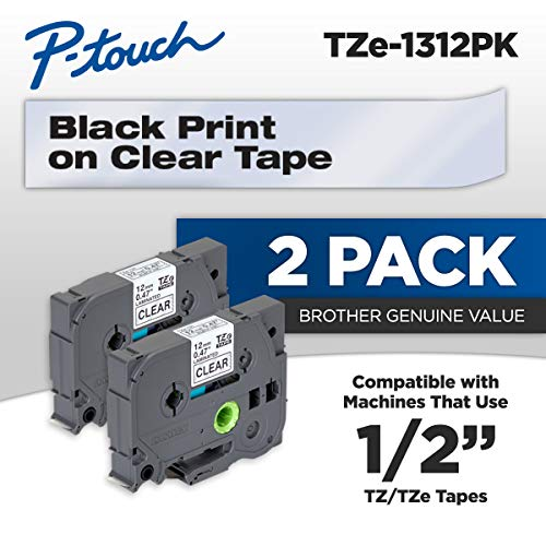 Brother Genuine Ptouch TZE1312PK Tape 12quot 047quot Standard Laminated Ptouch Tape Black on Clear Perfect for Indoor or Outdoor Use Water Resistant 262 Feet 8M TwoPack