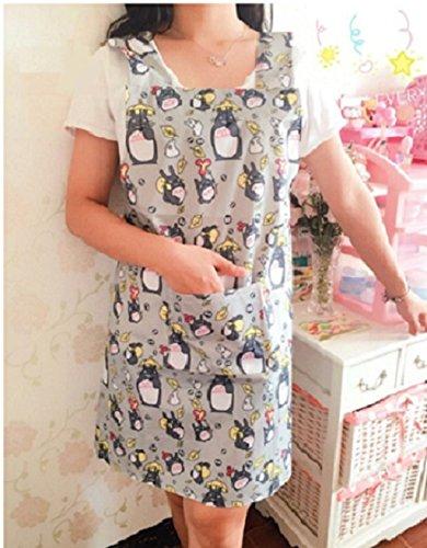CJB Lovely Totoro My Neighbor Waterproof Apron for Girls Ladies Women Grey (US Seller)