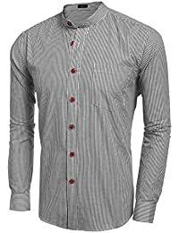 Mens Banded Collar Long Sleeve Button Down Striped Shirt