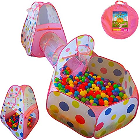Playz 3pc Kids Play Tent Crawl Tunnel and Ball Pit Pop Up Playhouse Tent with Basketball Hoop for Girls, Boys, Babies, and Toddlers for Indoor and Outdoor Use with Pink Carrying (Pit For Kids)