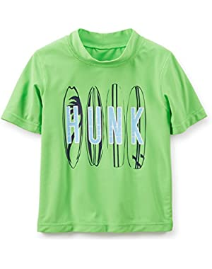 Little Boys' Rashguard Shirt Surf Board (18M, Green)