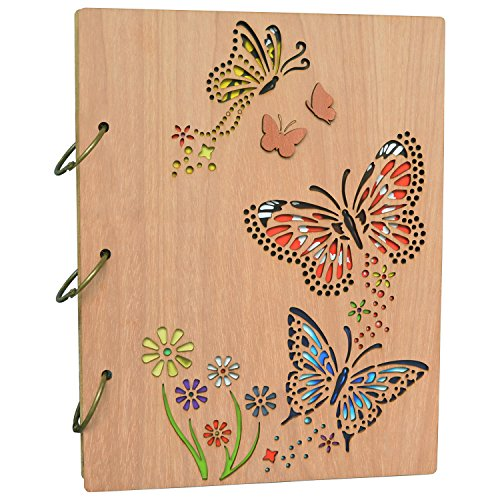 PETAFLOP 5x7 Photo Album Book Butterfly Themed Photo Albums 120 Pockets 3 Ring ()