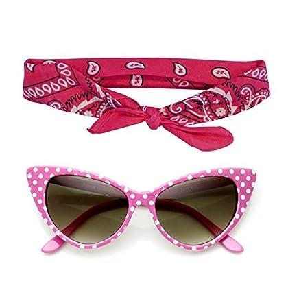 53a35df1a5 50s Polka Dot Cat Eye Sunglasses Black Pink Red White +Bandana Tie Headband  Set