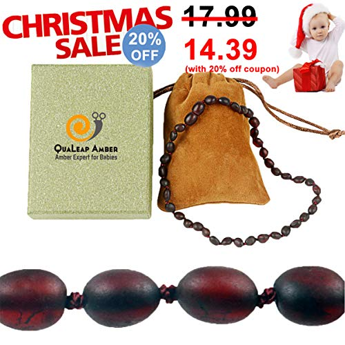 Raw Baltic Amber Teething Necklace for Baby (Unisex - Raw Cherry - 12.5 Inches), 100% Authentic Unpolished Amber Necklace for Infant & Toddler Teething ()