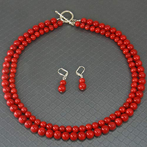 (Multi Strand Red Coral Gemstone Necklace Jewelry Set Earrings Included)