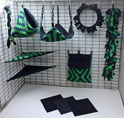 Sofun Pet Products 11 Piece Sugar Glider Cage Pouch Set Double Layered - Glider Sugar Fleece Blanket