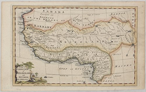 Historic 1700 Map   A new & correct map of Negroland and Guinea   Africa, WestAntique Vintage Map Reproduction